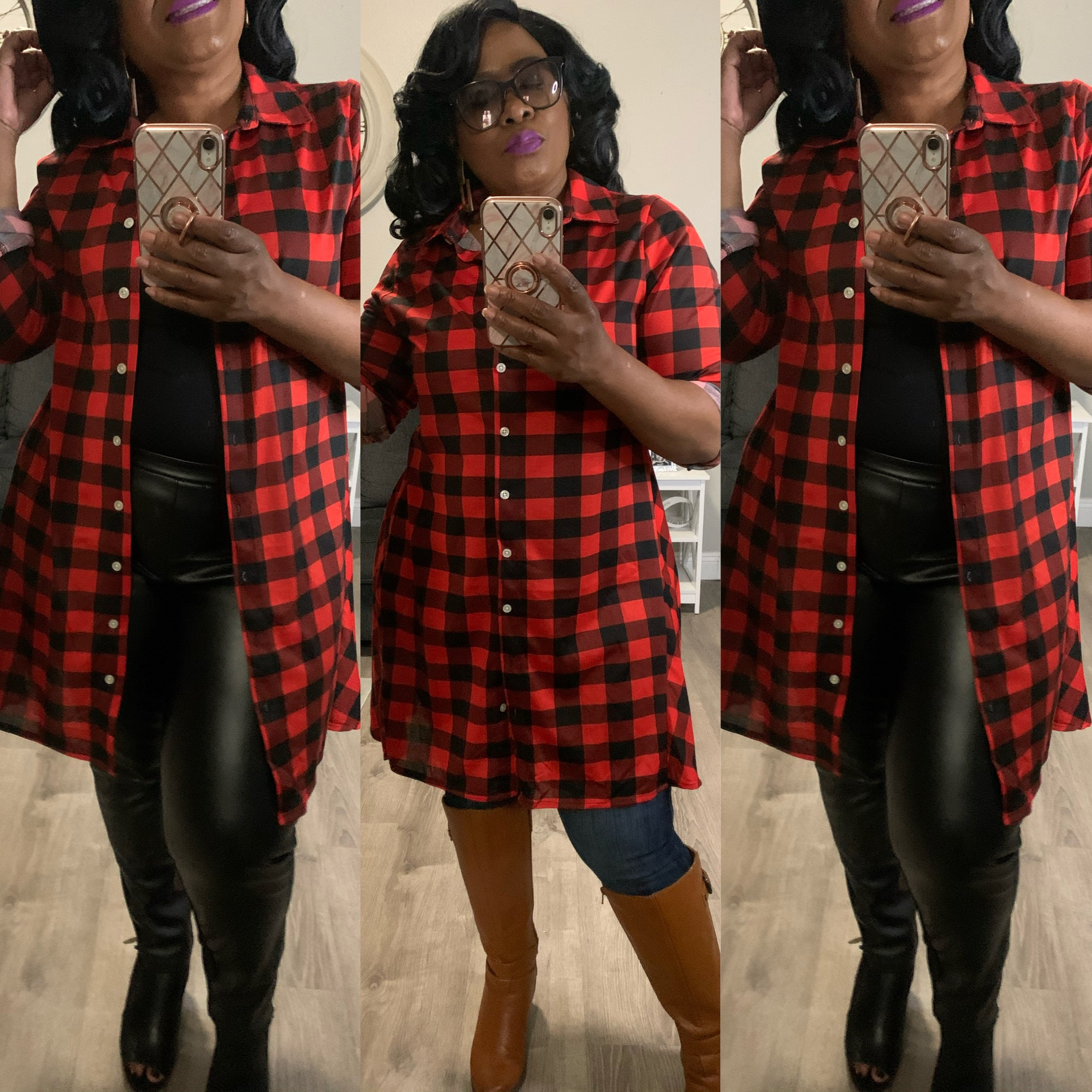 Brooke Plaid Shirt Dress