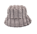 "LUXURY FAUX FUR BUCKET HAT ""GREY"""