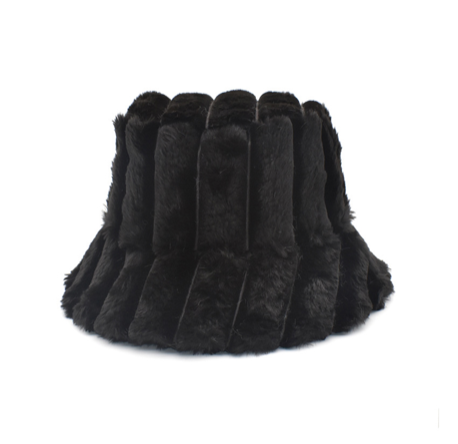 "LUXURY FUR BUCKET HAT ""BLACK"""