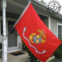 Load image into Gallery viewer, US Marine Corps Flag 3x5 for Outdoor Made in USA - All Weather USMC Flag with Magnificent Double-Sided Embroidery - UV Protected - Brass Grommets - Comes with Bonus Car Sticker