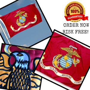 US Marine Corps Flag 3x5 for Outdoor Made in USA - All Weather USMC Flag with Magnificent Double-Sided Embroidery - UV Protected - Brass Grommets - Comes with Bonus Car Sticker