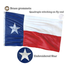 Load image into Gallery viewer, 100% US Made Texas Flag with a Bonus Car Sticker - Embroidered Star, Tough, Long Lasting Nylon Built for Outdoor Use, UV Protected and Sewn Using Quadruple Lock Stitching on Fly End