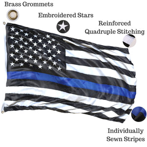Thin Blue Line Flag 3x5 ft with a Bonus Car Sticker: 100% US Made with Embroidered Stars and Sewn Stripes - Brass Grommets - UV Protection - Blue Lives Matter Flag Honoring Law Enforcement Officers