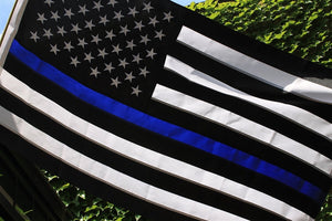 Thin Blue Line Flag 3x5 ft with a Bonus Car Sticke - Embroidered Stars and Sewn Stripes - Brass Grommets - UV Protection - Blue Lives Matter Flag Honoring Law Enforcement Officers