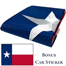 Load image into Gallery viewer, Texas Flag with a Bonus Car Sticker - Embroidered Star, Tough, Long Lasting Nylon Built for Outdoor Use, UV Protected and Sewn Using Quadruple Lock Stitching on Fly End