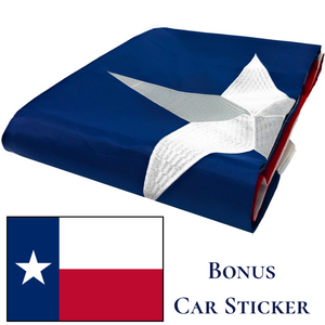 Texas Flag with a Bonus Car Sticker - Embroidered Star, Tough, Long Lasting Nylon Built for Outdoor Use, UV Protected and Sewn Using Quadruple Lock Stitching on Fly End