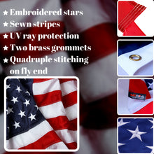 Load image into Gallery viewer, American Flag 5x8 ft - Heavy-Duty US Flag - Embroidered Stars - Nylon USA Flag Built for Outdoors - Sewn Stripes - UV Protection - Brass Grommets