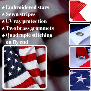 American Flag 5x8 ft - Heavy-Duty US Flag - Embroidered Stars - Nylon USA Flag Built for Outdoors - Sewn Stripes - UV Protection - Brass Grommets