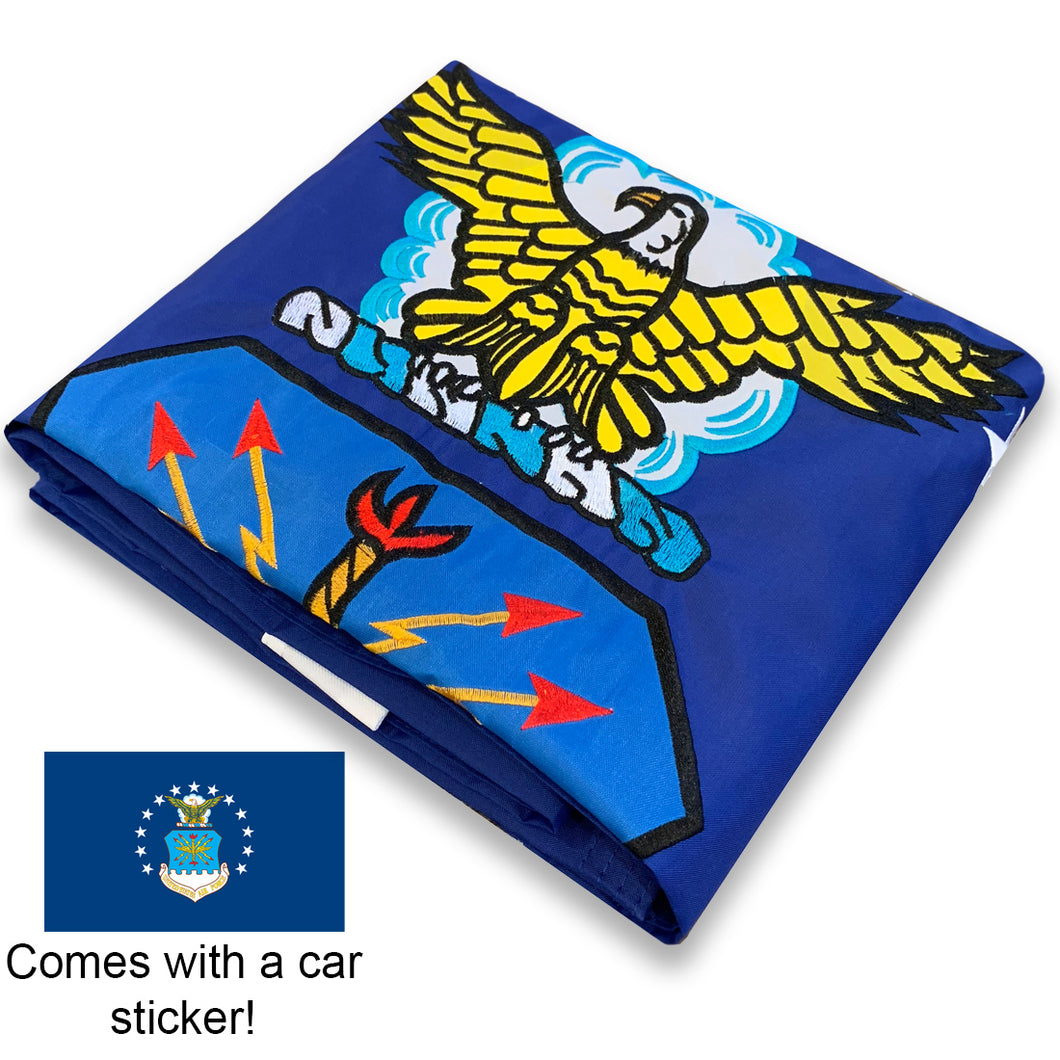 US Air Force Flag 3x5 for Outdoor Made in USA - All-Weather Heavy Duty USAF Flag with Magnificent Double-Sided Embroidery - UV Protected - Brass Grommets - Comes with Bonus Car Sticker