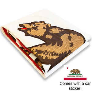 California Republic Flag 3x5 - All-Weather Heavy Duty Bear State Flag with Magnificent Double-Sided Embroidery - UV Protected - Brass Grommets - Comes with Bonus Car Sticker