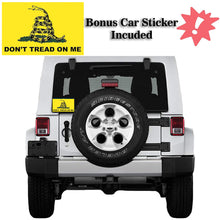 Load image into Gallery viewer, Don't Tread on Me Gadsden Flag 3x5 for Outdoors - All-Weather Heavy Duty Rebel Flag with Magnificent Double-Sided Embroidery - UV Protected - Brass Grommets - Comes with Bonus Car Sticker