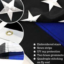 Load image into Gallery viewer, Thin Blue Line Flag 3x5 ft with a Bonus Car Sticker: 100% US Made with Embroidered Stars and Sewn Stripes - Brass Grommets - UV Protection - Blue Lives Matter Flag Honoring Law Enforcement Officers