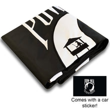Load image into Gallery viewer, US POW MIA Flag 3x5 for Outdoor Made in USA - All-Weather Heavy Duty Prisoner of War Flag with Magnificent Double-Sided Embroidery - UV Protected - Brass Grommets - Comes with Bonus Car Sticker