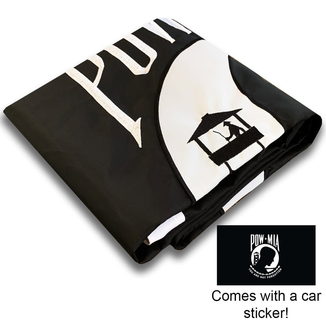 US POW MIA Flag 3x5 for Outdoor Made in USA - All-Weather Heavy Duty Prisoner of War Flag with Magnificent Double-Sided Embroidery - UV Protected - Brass Grommets - Comes with Bonus Car Sticker