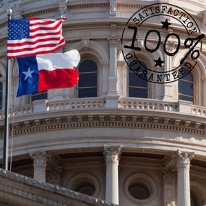 100% US Made Texas Flag with a Bonus Car Sticker - Embroidered Star, Tough, Long Lasting Nylon Built for Outdoor Use, UV Protected and Sewn Using Quadruple Lock Stitching on Fly End