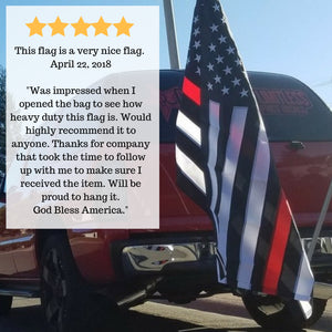 Thin Red Line Flag 3x5 for Outdoor - All-Weather Heavy Duty First Responders Flag Honoring Firefighters and EMTs - Comes with a Bonus Car Sticker