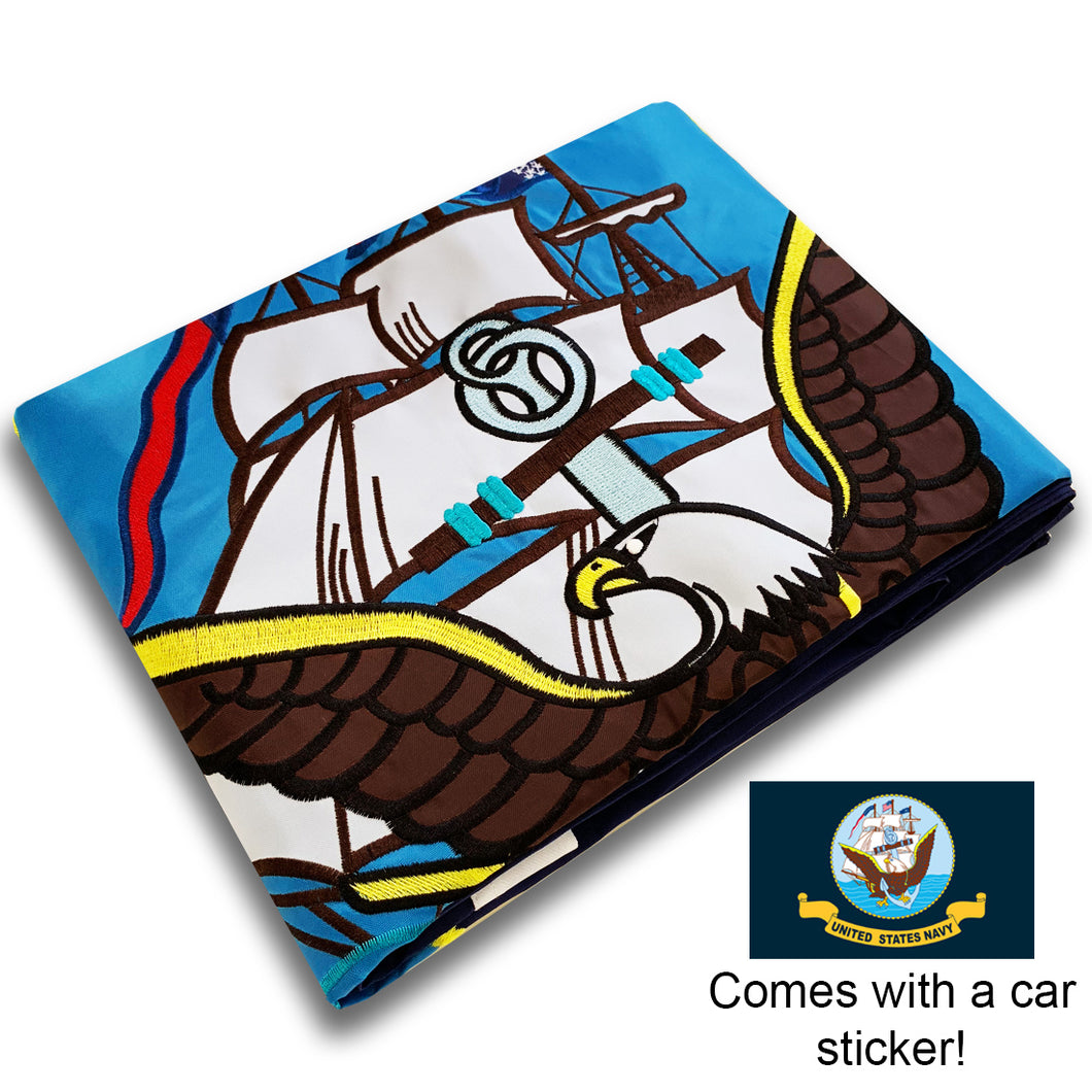 US Navy Flag 3x5 for Outdoor Made in USA - All-Weather Military Flag with Magnificent Double-Sided Embroidery - UV Protected - Brass Grommets - Comes with Bonus Car Sticker