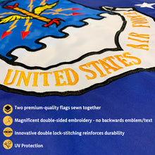 Load image into Gallery viewer, US Air Force Flag 3x5 for Outdoor Made in USA - All-Weather Heavy Duty USAF Flag with Magnificent Double-Sided Embroidery - UV Protected - Brass Grommets - Comes with Bonus Car Sticker
