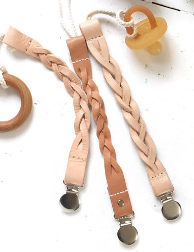 Pacifier Clip - Braided Leather
