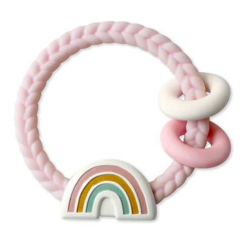 Ritzy Rattle™ Silicone Teether Rattles - Rainbow Pink