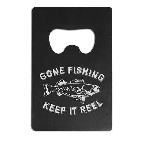 Black Aluminum Bottle Opener - Gone Fishing