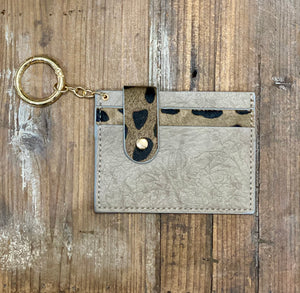 Gray Animal Pattern Card Holder Key Chain