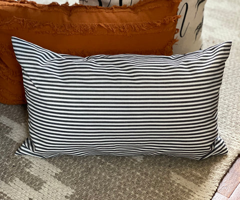Black Striped - Lumbar Pillow