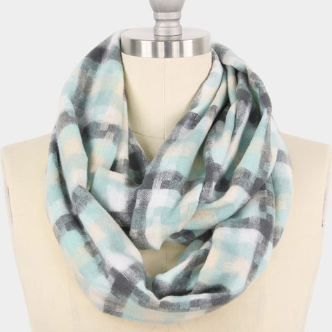 Houndstooth Infinity Scarf - Mint