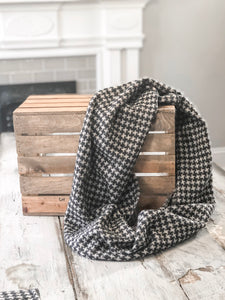 Black Brown Houndtooth Scarf