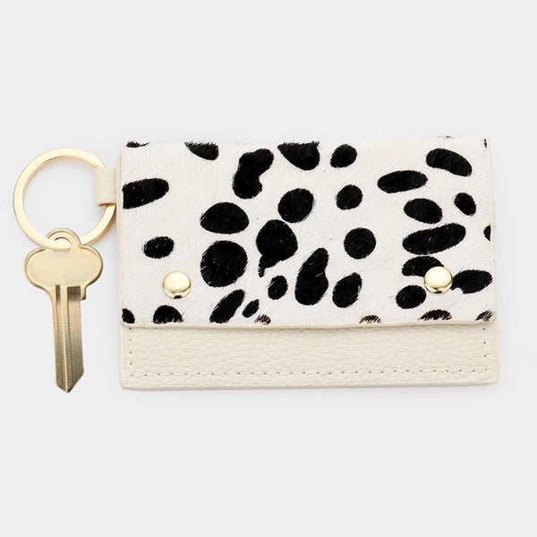 Folded Card Holder Key Chain - White Animal Pattern