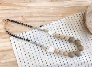 Wood Bead and Mother of Pearl Necklace
