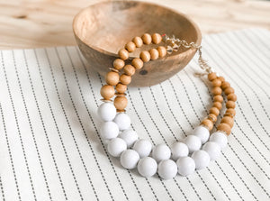 Wood Bead Double Strand Statement Necklace
