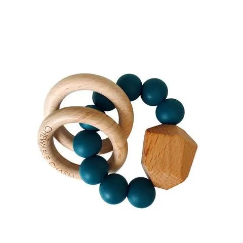 Hayes Silicone + Wood Teether Ring- Shaded Spruce