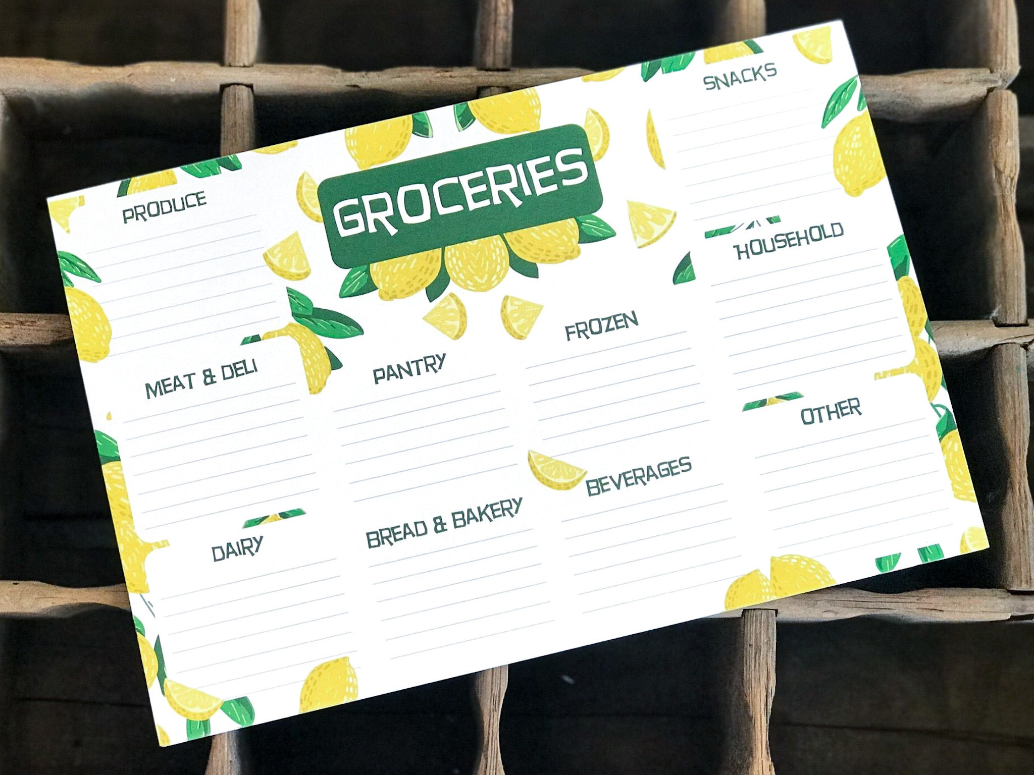 Groceries Notepad by Category - Lemons