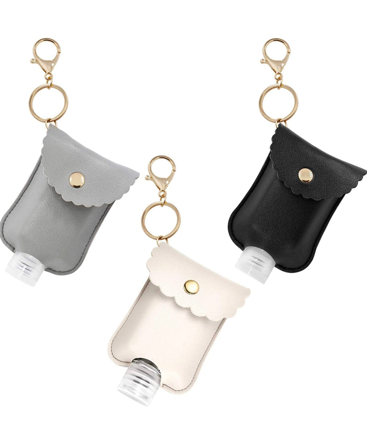 Keychain Leather Sanitizer Holder - Gold Clip