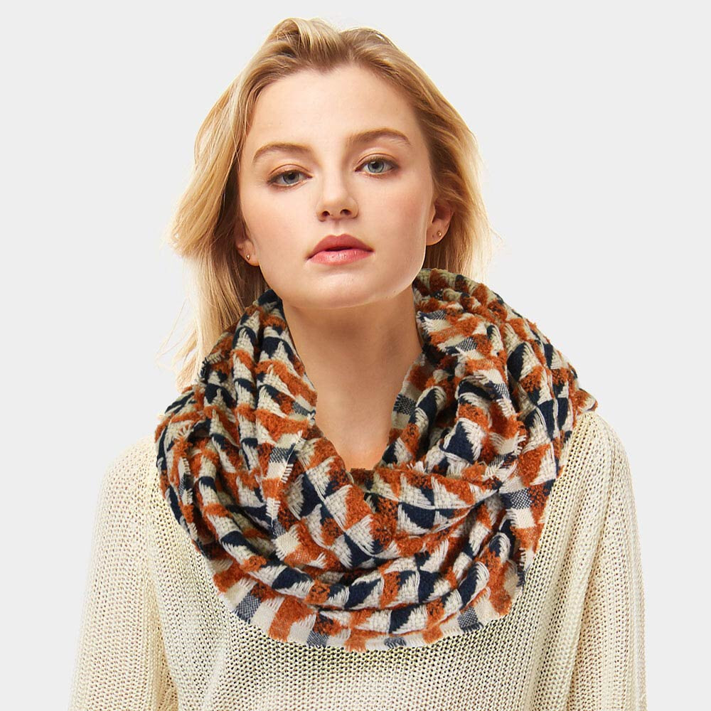 Geometric Brown Scarf