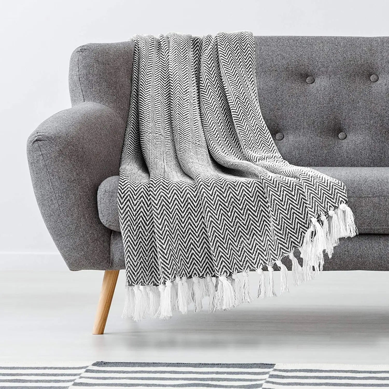 Cotton Herringbone Throw - Black/White