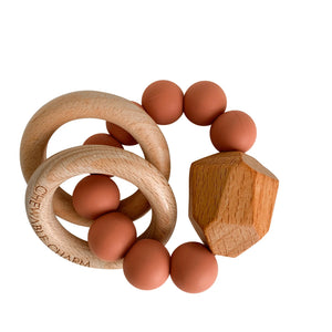 Hayes Silicone + Wood Teether Ring- Zion Sand