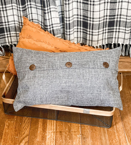 Charcoal Gray - Button Pillow