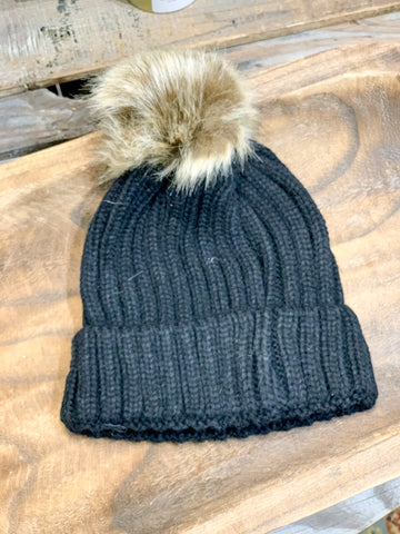 Black Knit & Brown Pom Pom Beanie Toboggan
