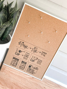 Measurement Conversion Cork Board