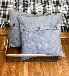 Charcoal Gray Button - Square Pillow