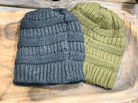 Fleece Lining Soft Cable Beanie Toboggans