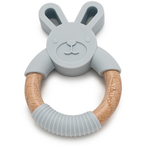 Bunny Silicone + Wood Teether - Light Gray