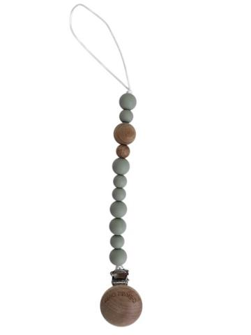 Pacifier Clip: Beads - Grey