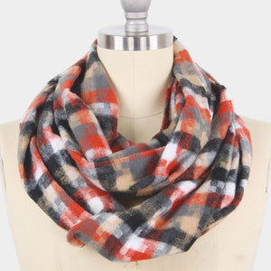 Rust Houndstooth Infinity Scarf
