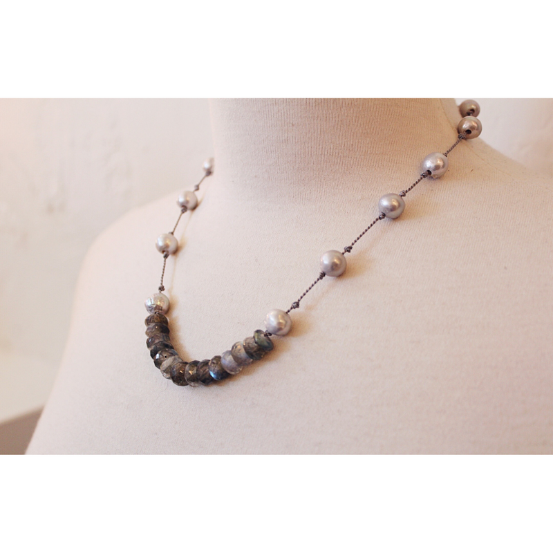 Knotted Silk Labradorite + Pearl Necklace