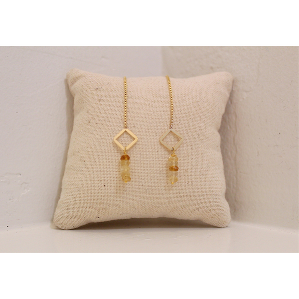 Diamond + Citrine Drop Chain Earrings