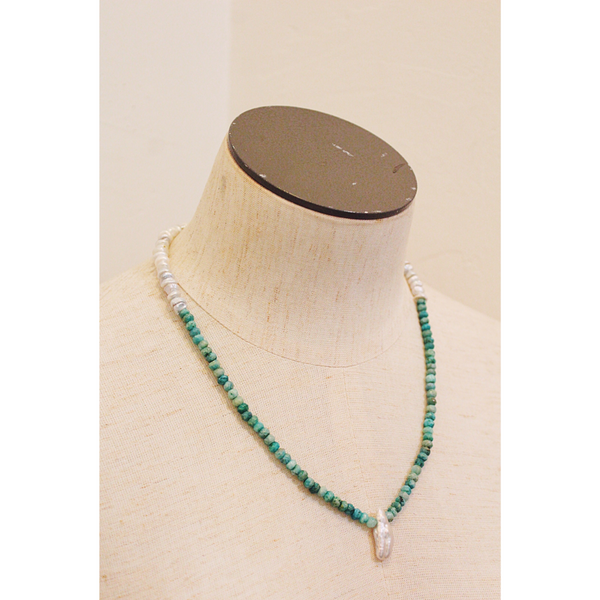 Amazonite + Keishi Pearl Necklace