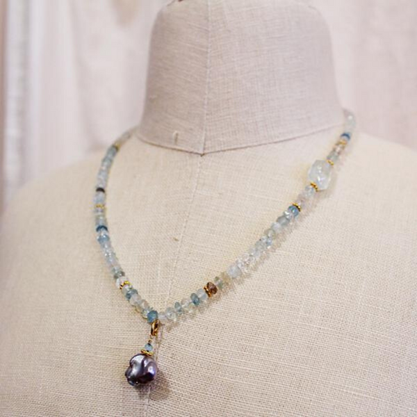 Aquamarine + Pearl Necklace